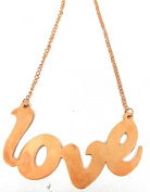Large GOLD LOVE SIGN Pendant (9cm) with Diamantes and 18cm drop GOLD chain.
