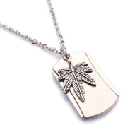 K Mega Jewellery Army Style Cool Silver Weed Mens Dog Tag Pendant Necklace