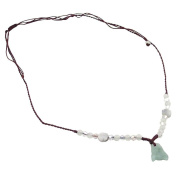 Jade Flower Necklace - Brown String