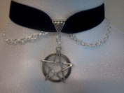 LARGE 30mm PENTAGRAM CHARM WITH CHAIN ON A BLACK 16mm Velvet Ribbon Choker Necklace