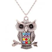 Tibetan Silver Colourful Owl Necklace