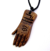Ovalbuy Ox Bone Carved Buddha Fortune Hand Pendant Necklace