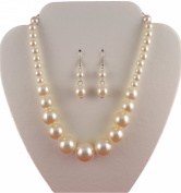 Jay Jewellery - Cream Faux Pearl Graduated necklace with matching earrings