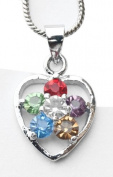 Ladies Mulitcoloured Gems Love Heart Necklace Locket-NEC376922.