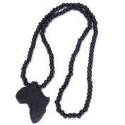 Africa-Map-Shaped Pendant Wooden Beads Chain Necklace--Black
