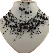 Jay Jewellery - Floating Black Faux pearl necklace with matching earrings