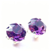 Silver Stud Earrings set with Amethyst. Crystal Stones. Gift Box. Made in England. Beautiful jewellery for very special people.