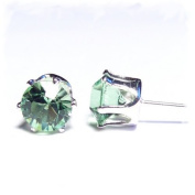 Silver Stud Earrings set with Green Zircon. Crystal Stones. Gift Box. Beautiful jewellery for every ladies.