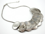 Zest Silver Look Necklace Overlapped Ovals Necklace with Snake Chain