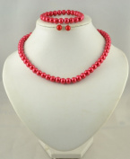Jay Jewellery - Red glass pearl necklace with earrings and bracelet