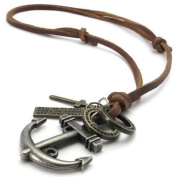 Konov Jewellery Unisex Mens Vintage Style Anchor Cross Pendant Genuine Leather Necklace Chain, Colour Brown Silver