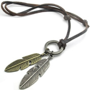Konov Jewellery Unisex Mens Vintage Style Angel Feather Pendant Genuine Leather Necklace Chain, Colour Brown Gold Silver