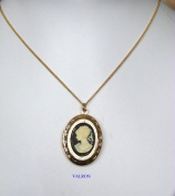 ATTRACTIVE BLACK CAMEO PENDANT NECKLACE WITH LOCKET GOLD PLATED 46cm CHAIN AND LOCKET