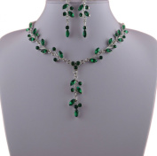 Jay Jewellery - Emarld Green Acrylic Crystal Leaf Necklace and Earrings Set