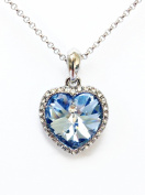 Beautiful aqua set. Crystal Elements Silver Plated Rhinestone Titanic Heart of The Ocean Style Ladies 41cm - 46cm Pendant Necklace comes with a matching earrings.