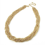 Bling Online Six Row Gold Entwined Chain Necklace.