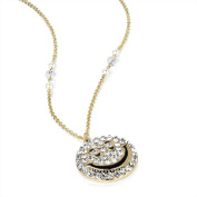 Bling Online Gold Tone Smiley Face Crystal Pendant Necklace.