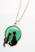 Colour Changing Mood Necklace - Two Cats on The Moon