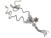 Glitz4Girlz Silver Crystal Butterfly Necklace