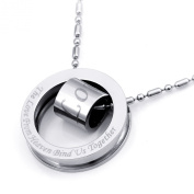 JewelryWe New Fashion Stainless Steel 316l Love Circle Pendant Necklace for Men Ladies Religious Jewellery