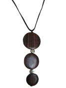 Suzie Blue Handmade 3 Disc Brown Natural Wood & Silver Tone Bead Necklace