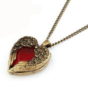 Red Heart Angel Wings Vintage Fashion Pendant Necklace