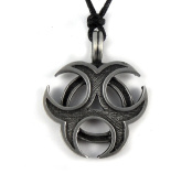 Mystical & Magical Pewter Biohazard Triple Moon Tribal Skate Surf Celtic Pagan Gothic Pendant Necklace