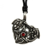 Mystical & Magical Pewter The Adder Dragons Pentagram with Red Centre Pentacle Wiccan Amulet Talisman - supplied on an adjustable black rope necklace