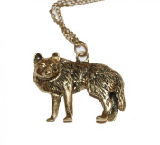 Vintage Style Antique Bronze/Brass Wolf with Intricate Detailed Engravings Costume Necklace Game of Thrones Inspired (Gift Pouch Included) Very Unique Jewellery