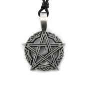 Mystical & Magical Pewter Celtic Pentagram Moon Knotwork Gothic Pagan Pendant Necklace