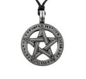 Mystical & Magical Pewter Runic Pentagram Pentacle Pagan Wiccan Gothic Pendant - Supplied on adjustable black rope necklace