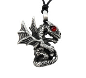Mystical & Magical Pewter & Red Crystal Baby Dragon Gothic Pagan Wiccan Pendant on An Adjustable Black Rope Necklace