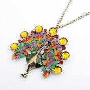 Burnished Gold & Multi Colour Green/Orange/Red/Yellow Diamante Peacock Pendant Fashion Necklace