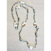 PEARL - Polished Stone and Pearl Bead Necklace