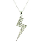 Clear Crystal on Silver Plated Small Lightening Bolt Necklace