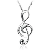 JewelryWe Fashion Silver Plated Treble G Clef Music Note Pendant Necklace Jewellery For Women, Teens - Nickel Free