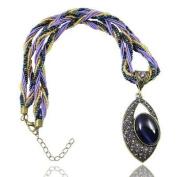 Klaritta Vintage Jewellery Antique Gold & Purple Eye Shape Pendant Necklace N127