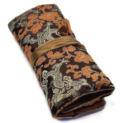 Elegant Jewellery Purse for Necklace, Bracelet and Rings in Mocha Brown Embroidered Satin Silk by Tantric Tokyo