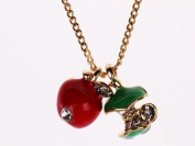 Blingalove Enamel Crystal Red And Green Apple Pendant On Gold Coloured Chain Necklace