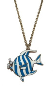 Blue Tropical Fish Blowing Pearly Bubbles Long Necklace (Supplied in a Gift Pouch) Unique Jewellery
