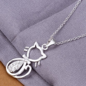 DUMAN Fashion Jewellery Neckwear Silver Plated Rhinestone Cat Necklace Valentine's day, Christmas Gifts