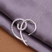 DUMAN Fashion Jewellery Neckwear Silver Plated Inlaid Stone Half Heart Necklace Valentine's day, Christmas Gifts
