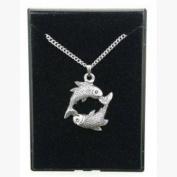Fine Quality English Pewter Pendant Necklace Gift, Pisces Horoscope Design