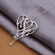 DUMAN Fashion Jewellery Neckwear Silver Plated Inlaid Stone Meteor Heart Necklace Valentine's day, Christmas Gifts