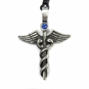 Mystical & Magical Pewter Caduceus Blue. Element Crystal Medical Healing Symbol Tribal Pendant Necklace.