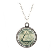 Silver Plated Chain Necklace with Eye of Providence Design Pendant