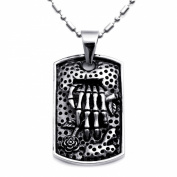 JewelryWe New 316l Stainless Steel Mens Skeleton Hand Tag Pendant Necklace Birthday Gift