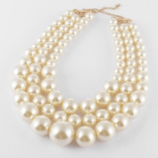 Fashion Chunky Best Selection New Year's Evening Wear Necklaces Resin Big White Faux Pearl Multi Strand 3 Layer Jewellery