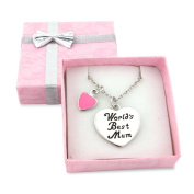 World's Best Mum necklace gift boxed - on silver heart with pink heart charm - necklace chain length is adjustable