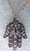 M Allen Antique Silver Effect Hand Of Fatima Hamsa Khamsa Filigree Charm on 47cm Necklace
